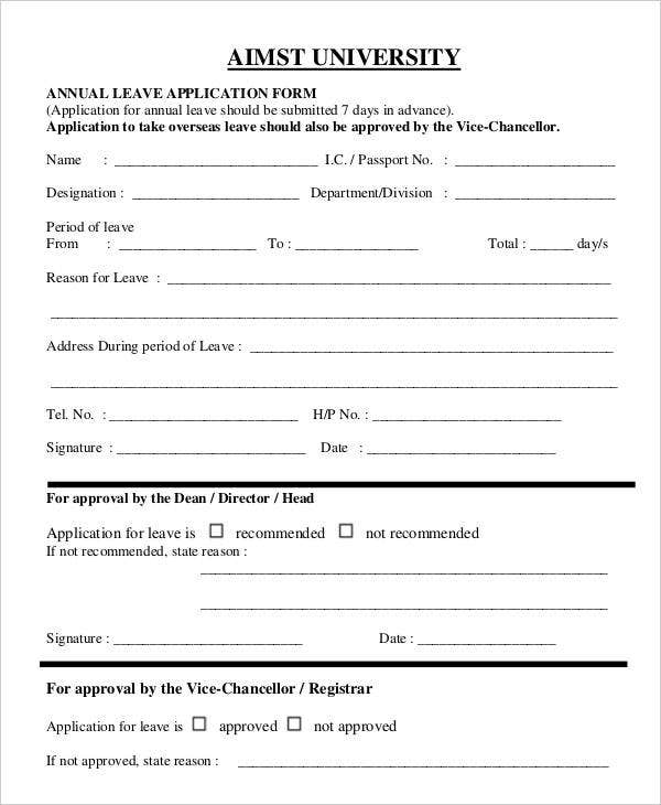 Holiday Leave Form Template Leave Application Request EMail