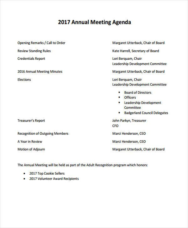 annual meeting agenda sample