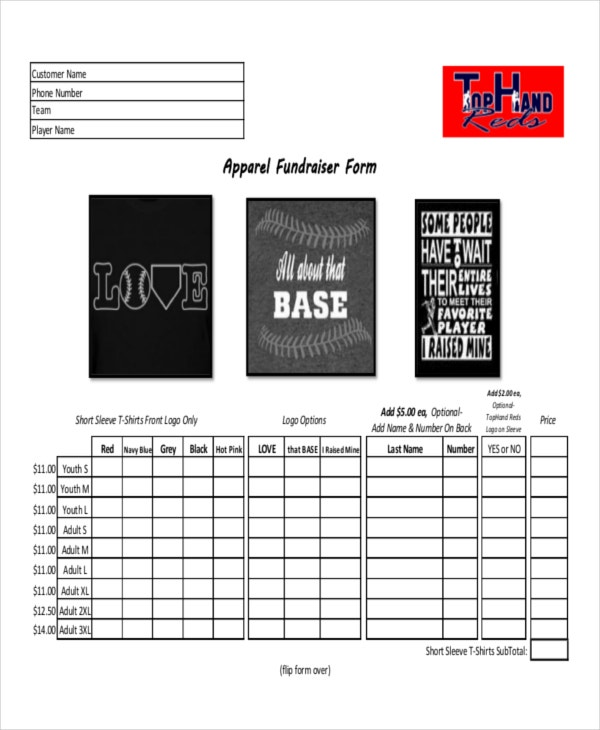 12 apparel order forms free sample example format download apparel fundraiser order maxwellsz