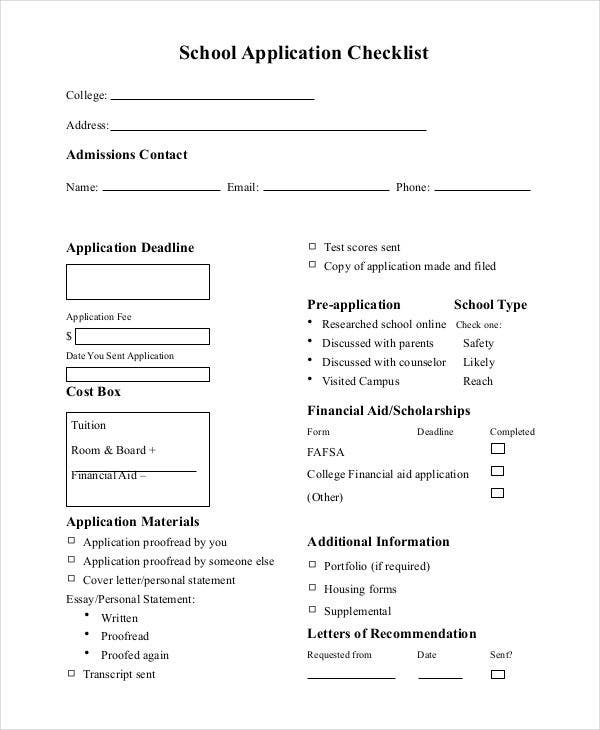 application checklist for school