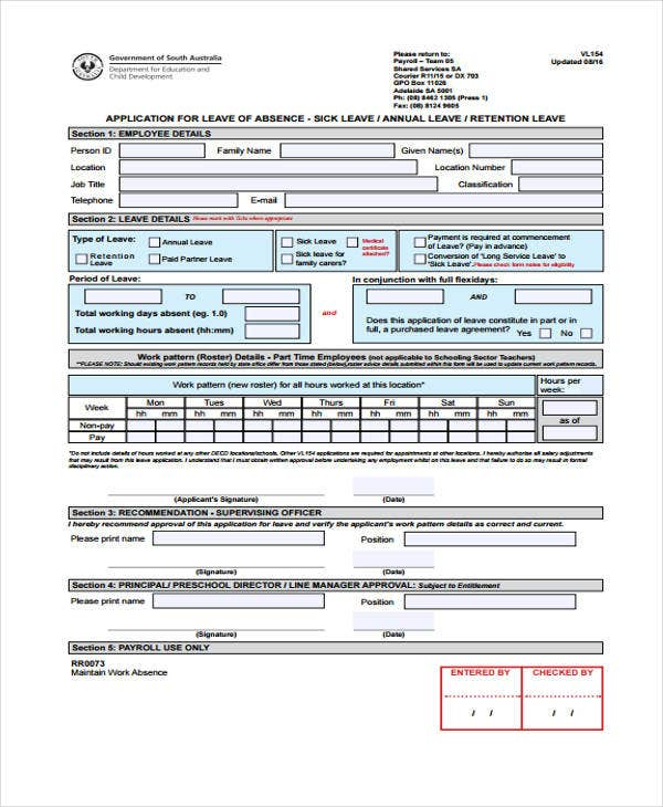 application form for annual leave