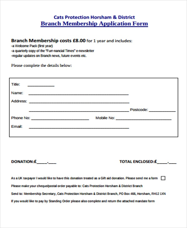 application form for branch membership