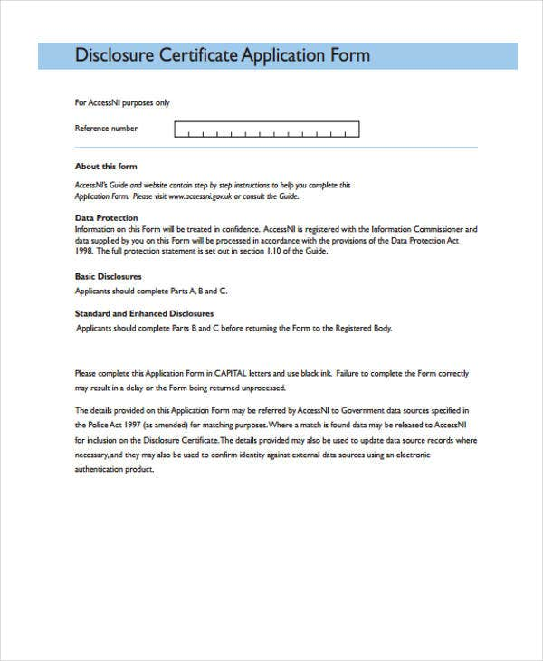 application form for disclosure certificate
