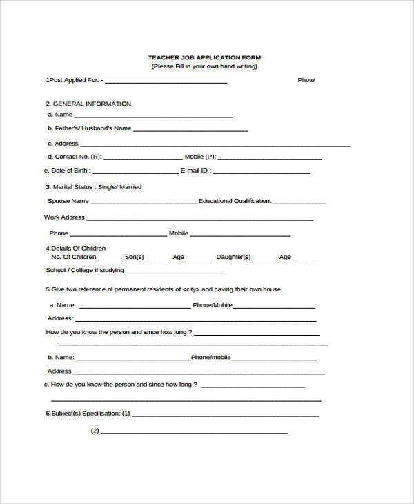 application form for teacher job