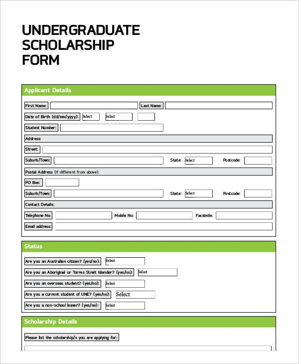 Application Form for Undergraduate Scholarship