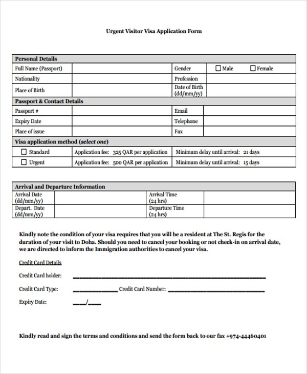 application form for visitor visa