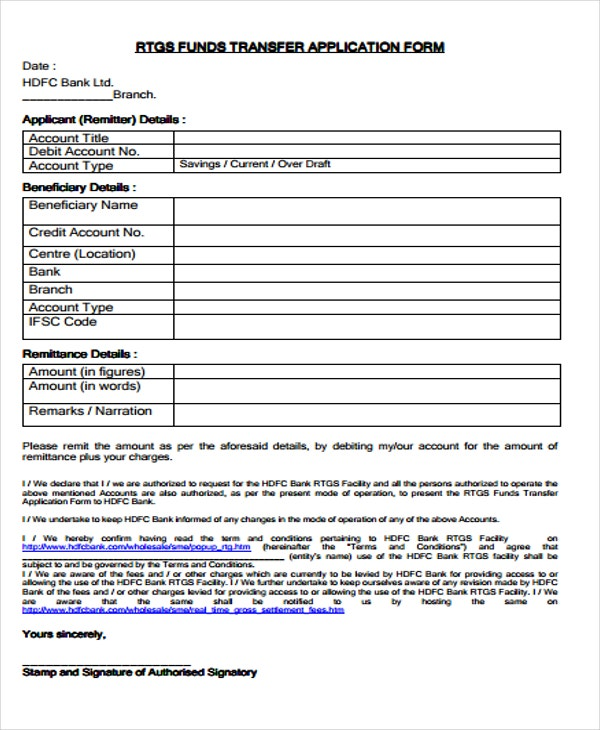 application form of account fund transfer
