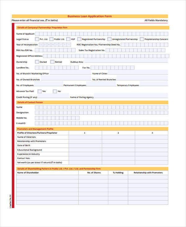 application form of business loan