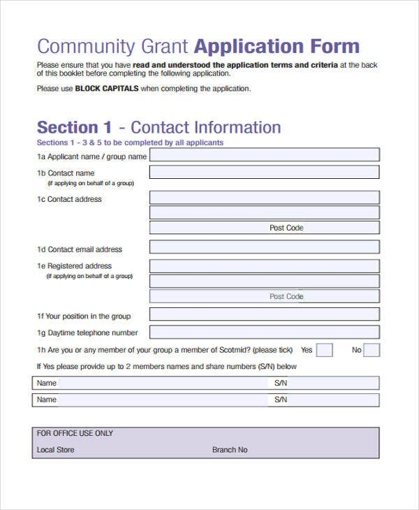 application form of community grant
