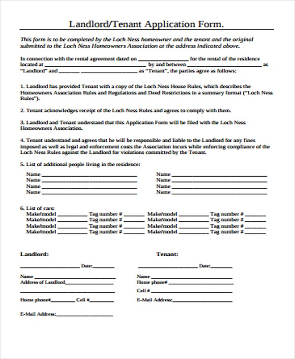 application form of landlord tenant