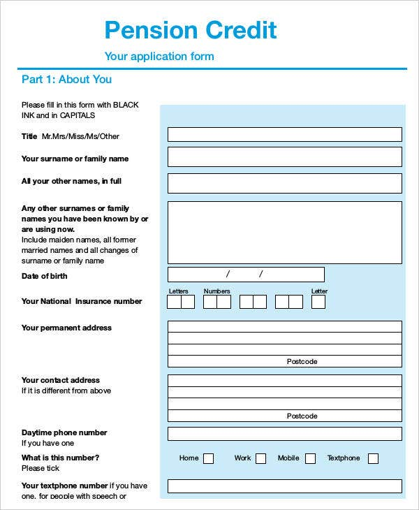 Application Form of Pension Credit