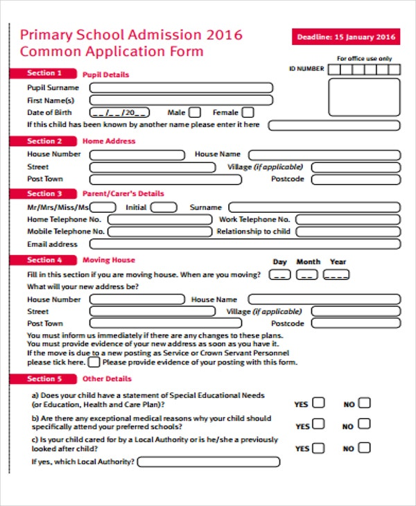 application form of primary school