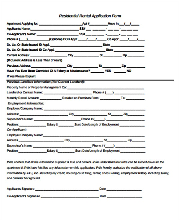 application form of residential rental