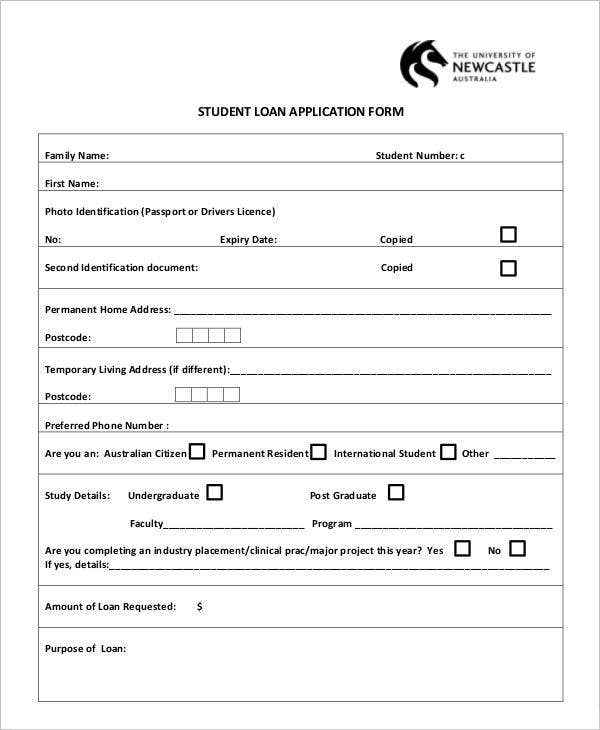 Application Form of Student Loan
