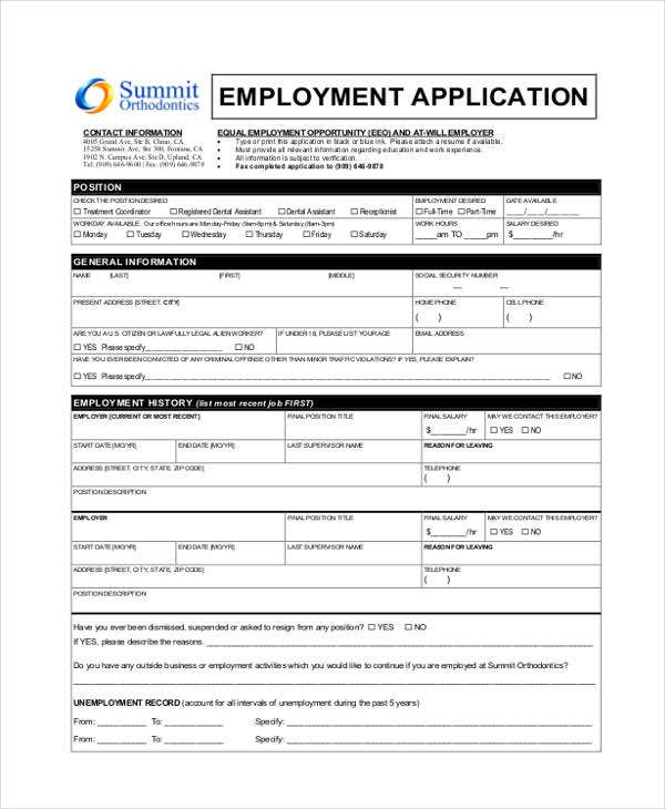 application for dental assistant job