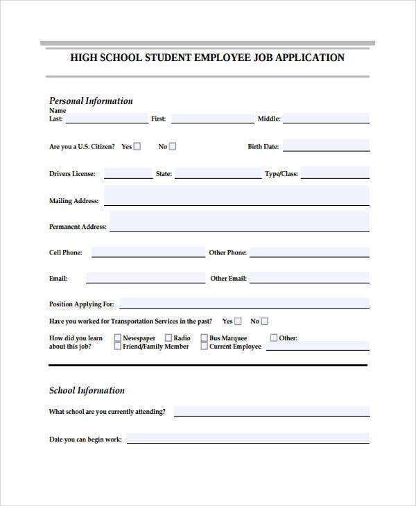 application for high school student job
