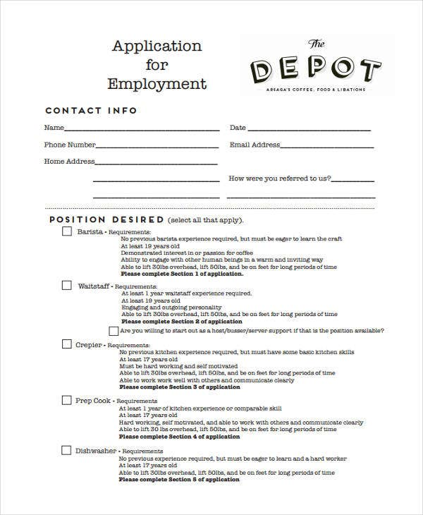 application for restaurant depot job