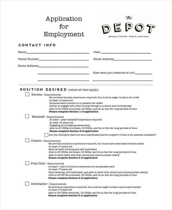 application for restaurant depot job