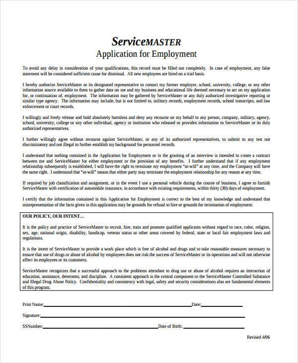 application for service master job