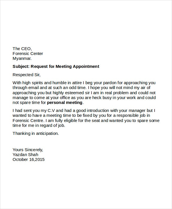appointment meeting request letter