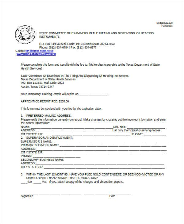 apprentice permit application