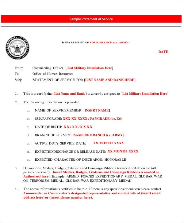 army service statement letter