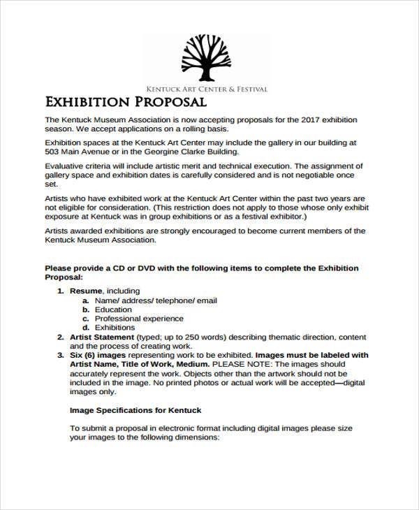 Exhibition Proposal Templates   Free Sample Example Format