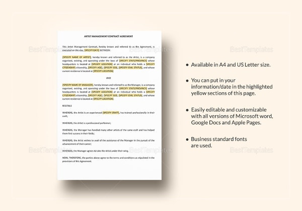 Artist Contract Templates  Free Sample Example Format Download