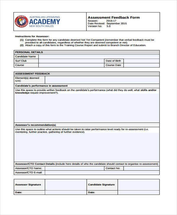 assessment feedback form example