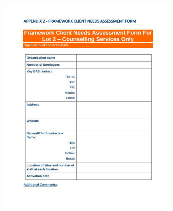 assessment form for client needs