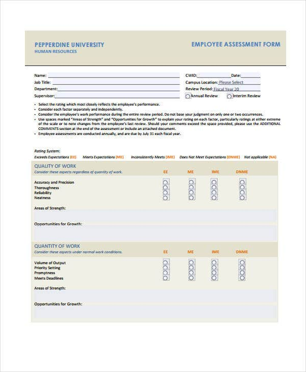 assessment form for employee example