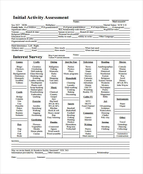 assessment form for initial activity