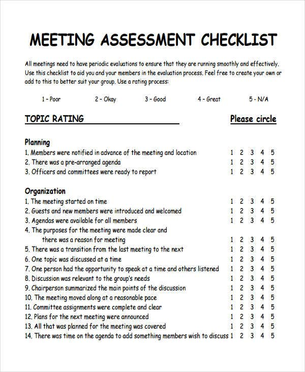 assessment meeting checklist