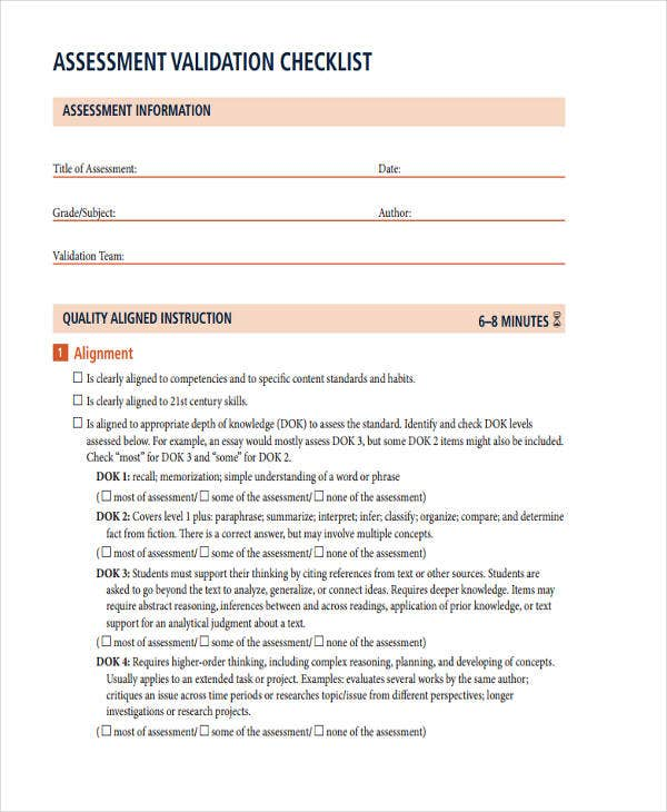 assessment validation checklist