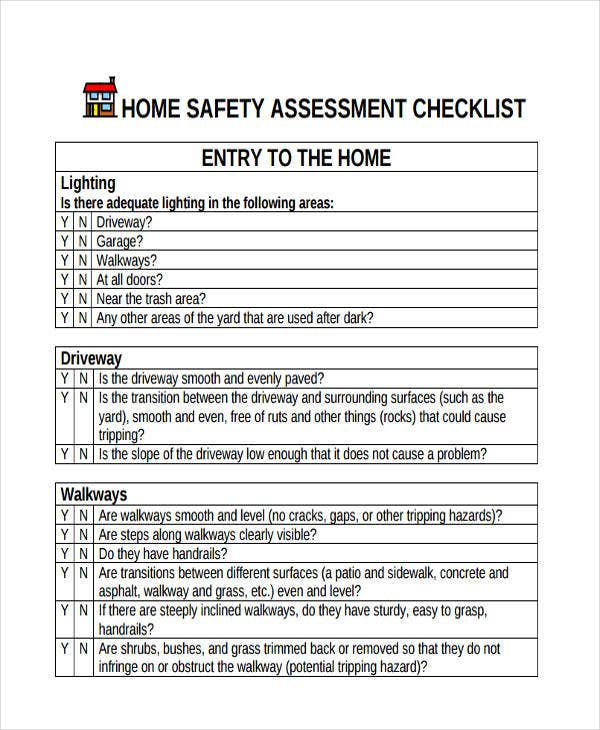 assessment checklist for home safety