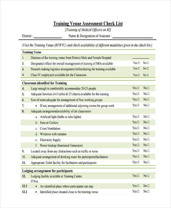 assessment checklist for training