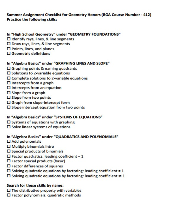 assignment checklist for course