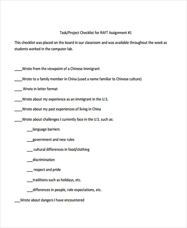assignment checklist for project