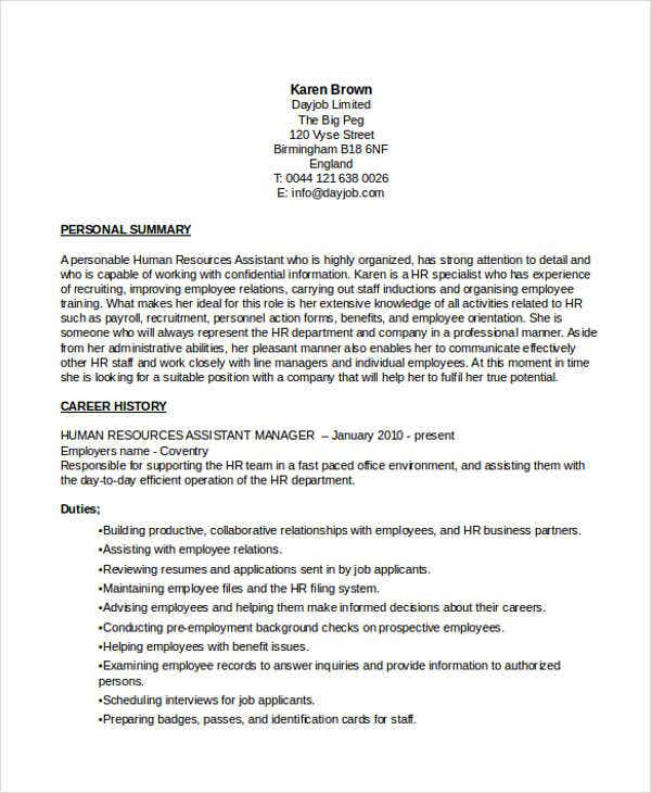 assistant hr manager. Resume Example. Resume CV Cover Letter