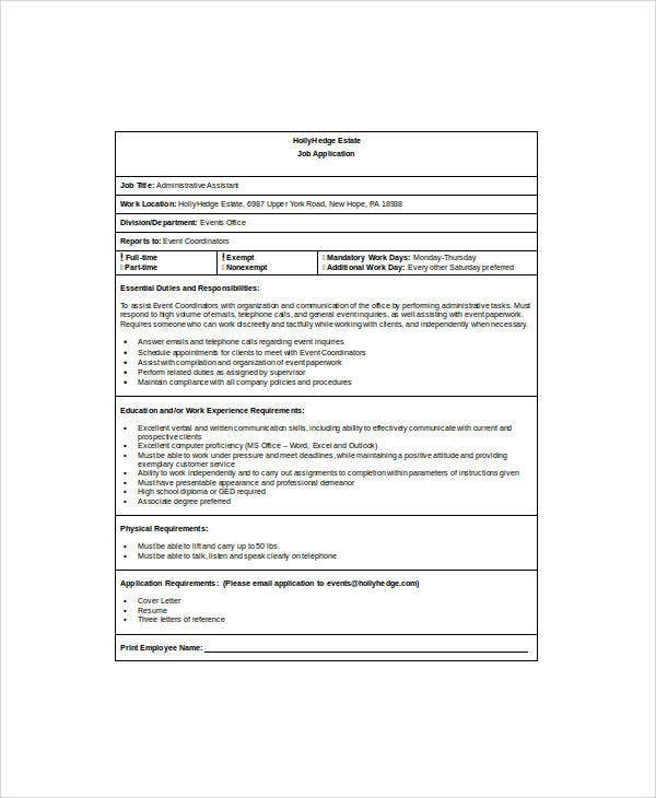 assistant job application