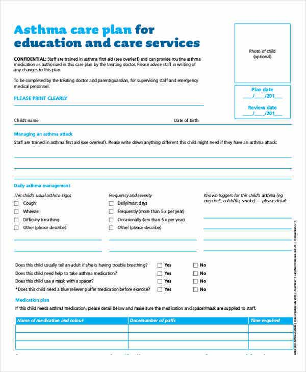 Care plan templates 11 free samples examples format for Asthma care plan template