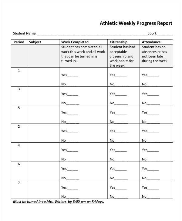 athletic weekly progress report