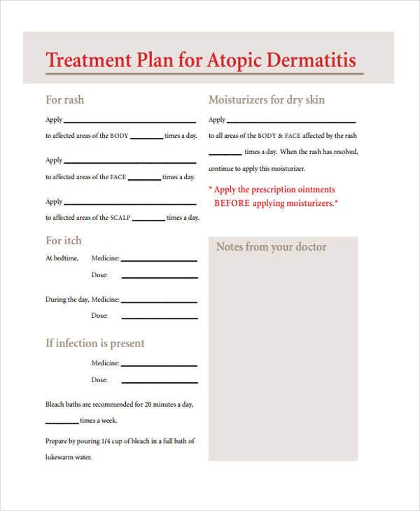 atopic dermatitis treatment plan