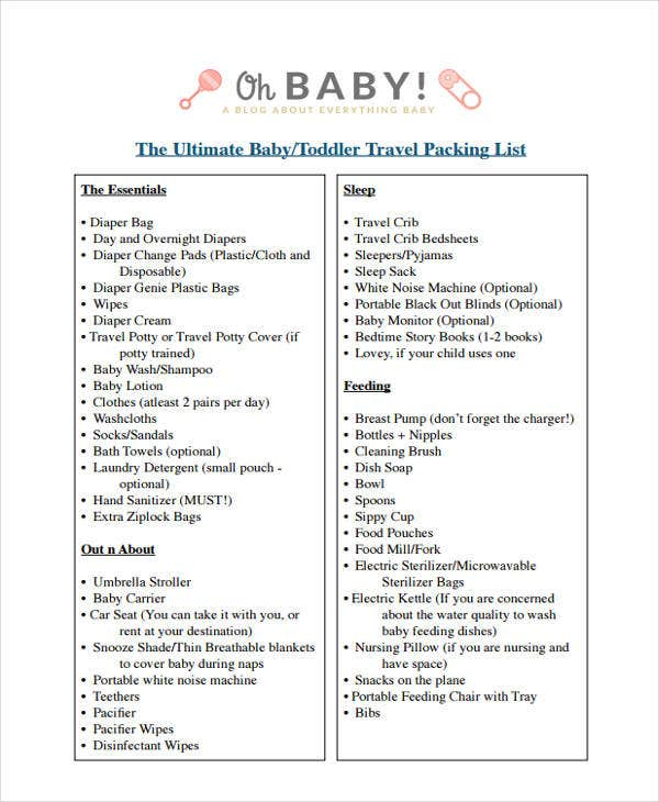 9  travel packing list templates