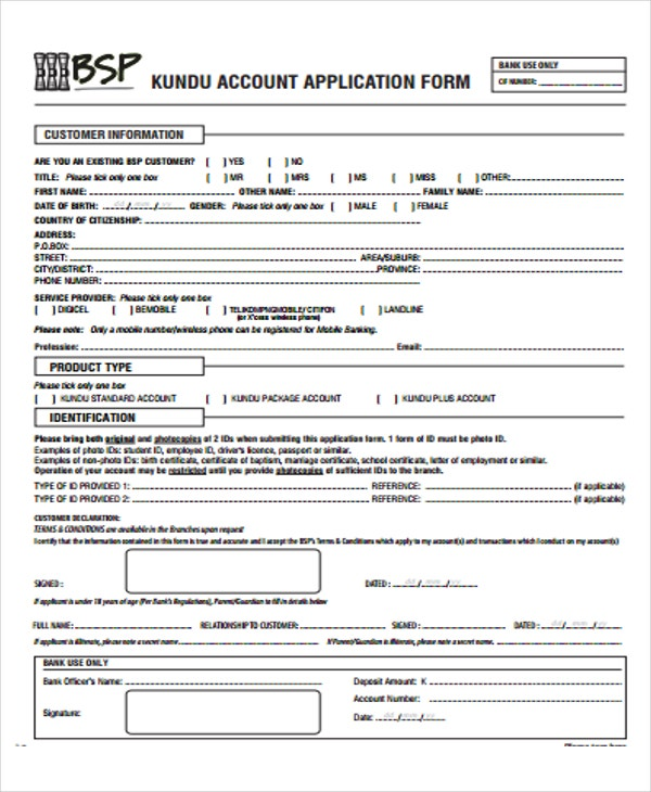bank account application form