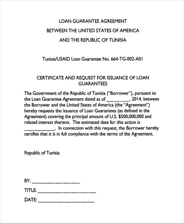 bank guarantee loan agreement