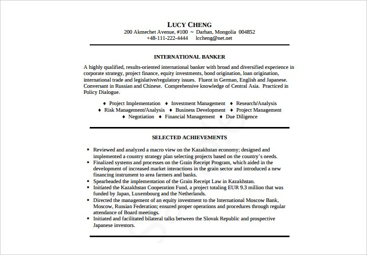 banker resume sample1