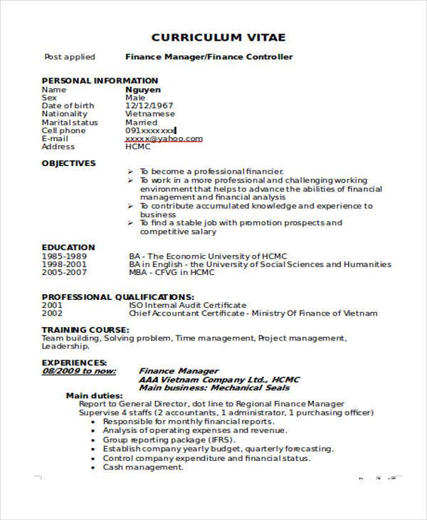 finance manager cv template 28 images sle finance