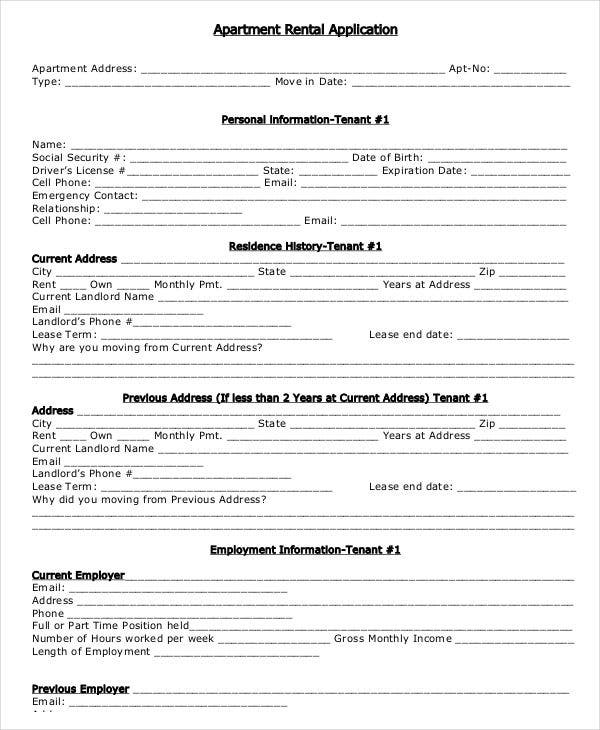 Resource image within printable rental application form