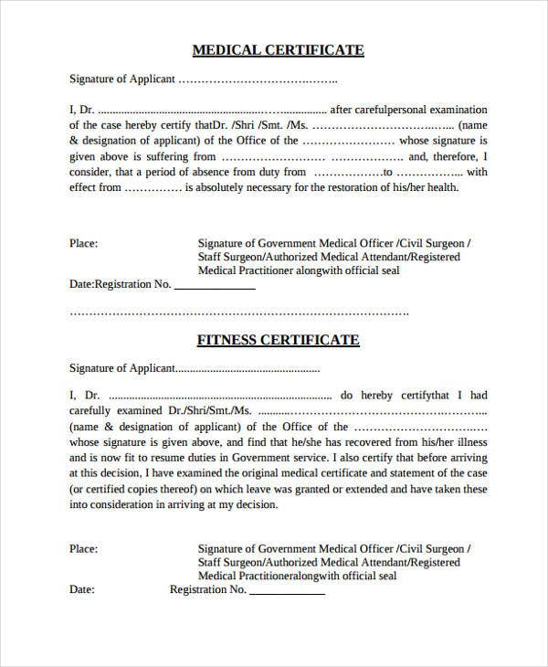 basic medical certificate sample